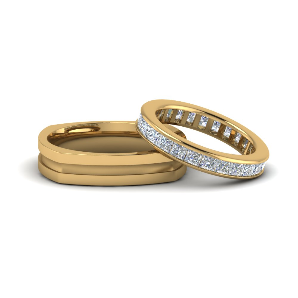 Square Eternity Ring and Matching Band For Couple