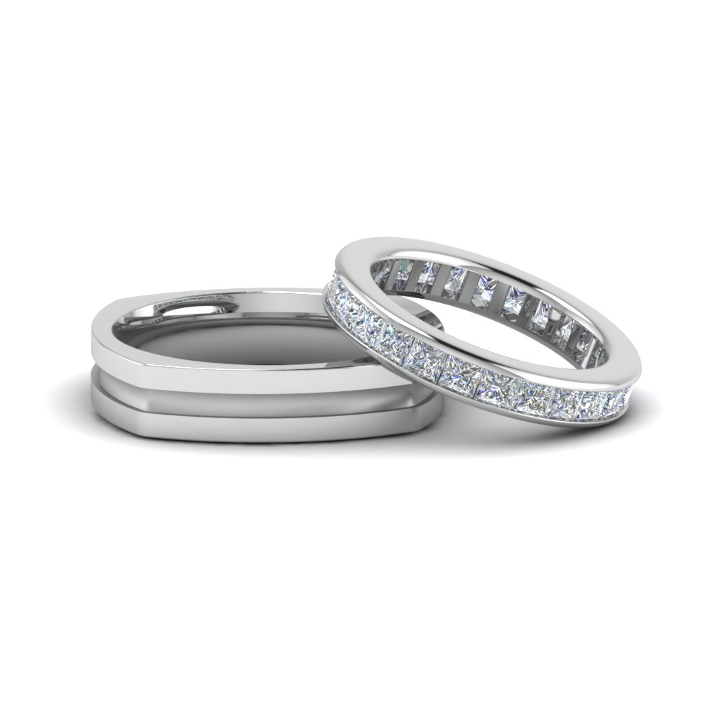 Square Eternity Ring and Band For Couple