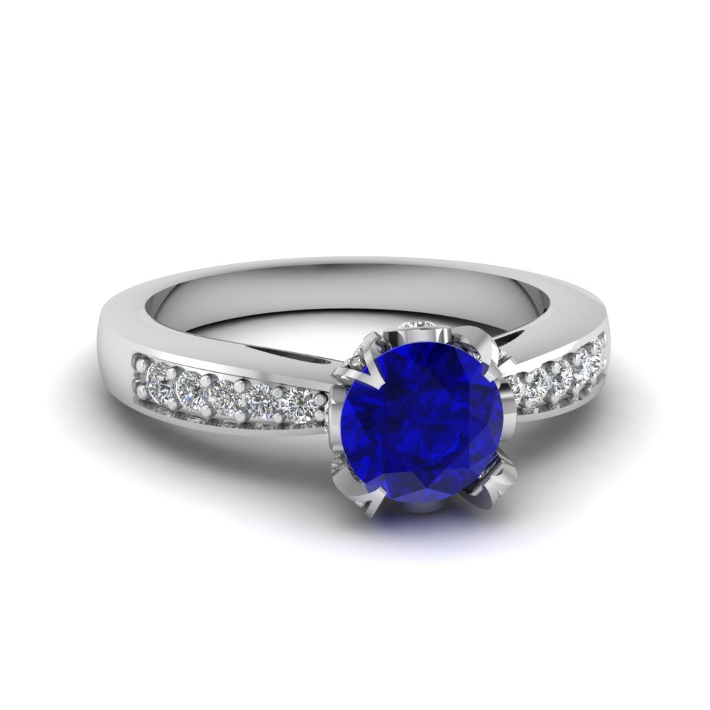 Diamond Prong Sapphire Engagement Ring For Women in White Gold