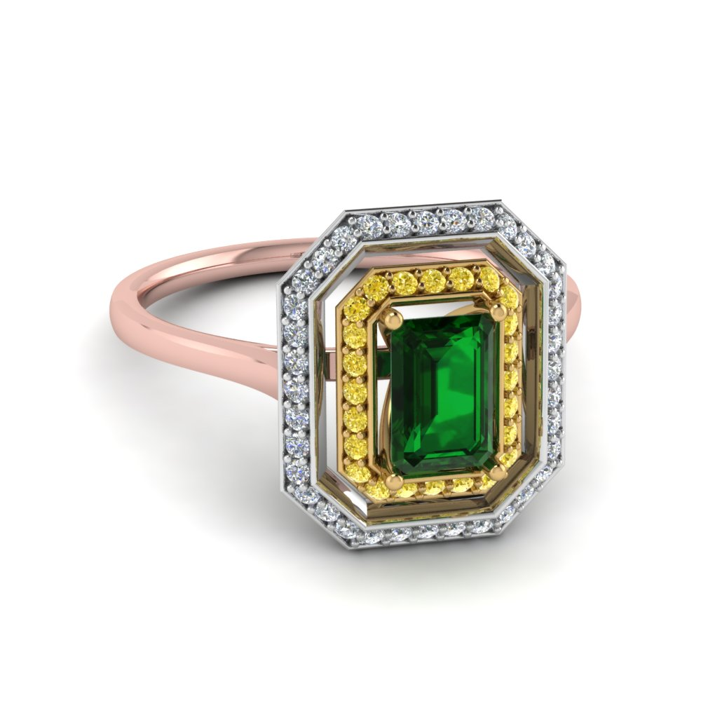 Two Tone Emerald Double Halo Gemstone Engagement Ring