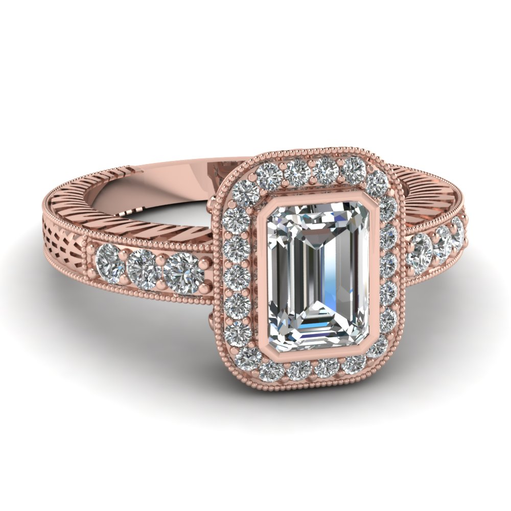 Emerald Cut Halo Diamond Pink Gold Ring