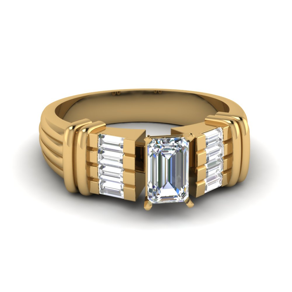 Vintage Big Emerald Cut  Diamond Ring