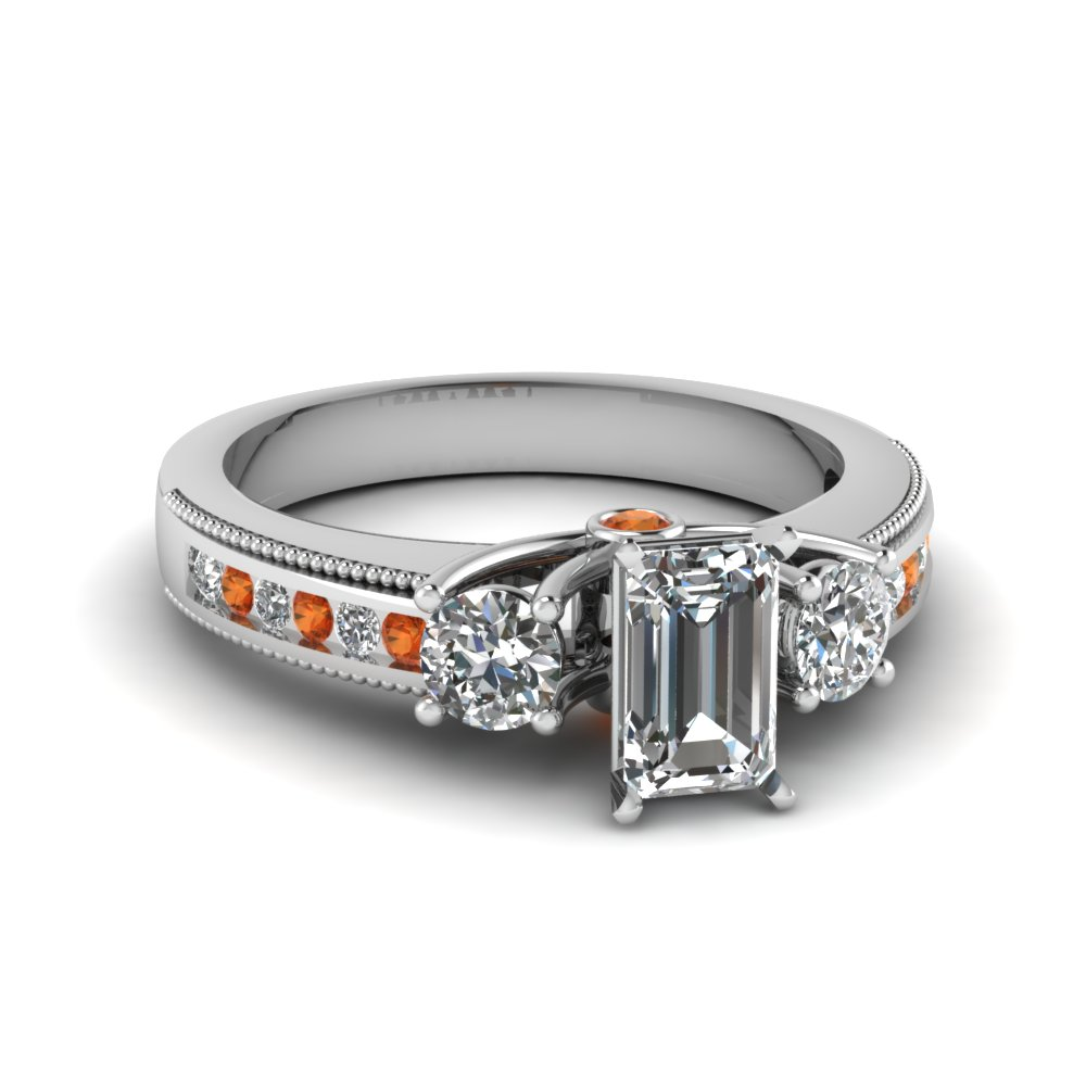 Diamond And Orange Sapphire Ring