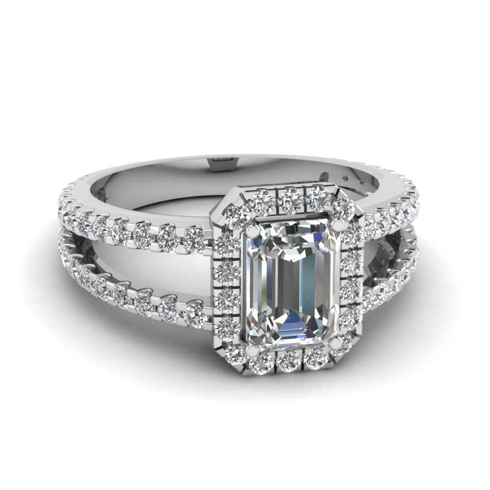 Square Split Diamond Halo Engagement Ring