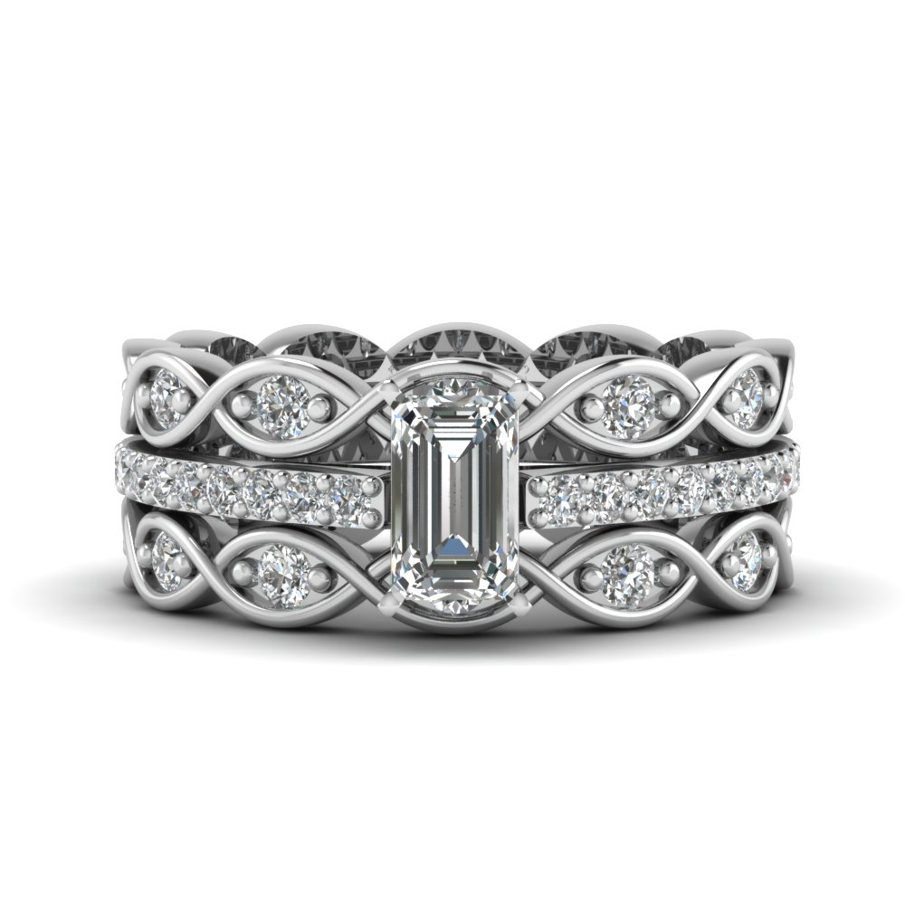 Emerald Cut Infinity Band Diamond Ring Sets In 14K White Gold