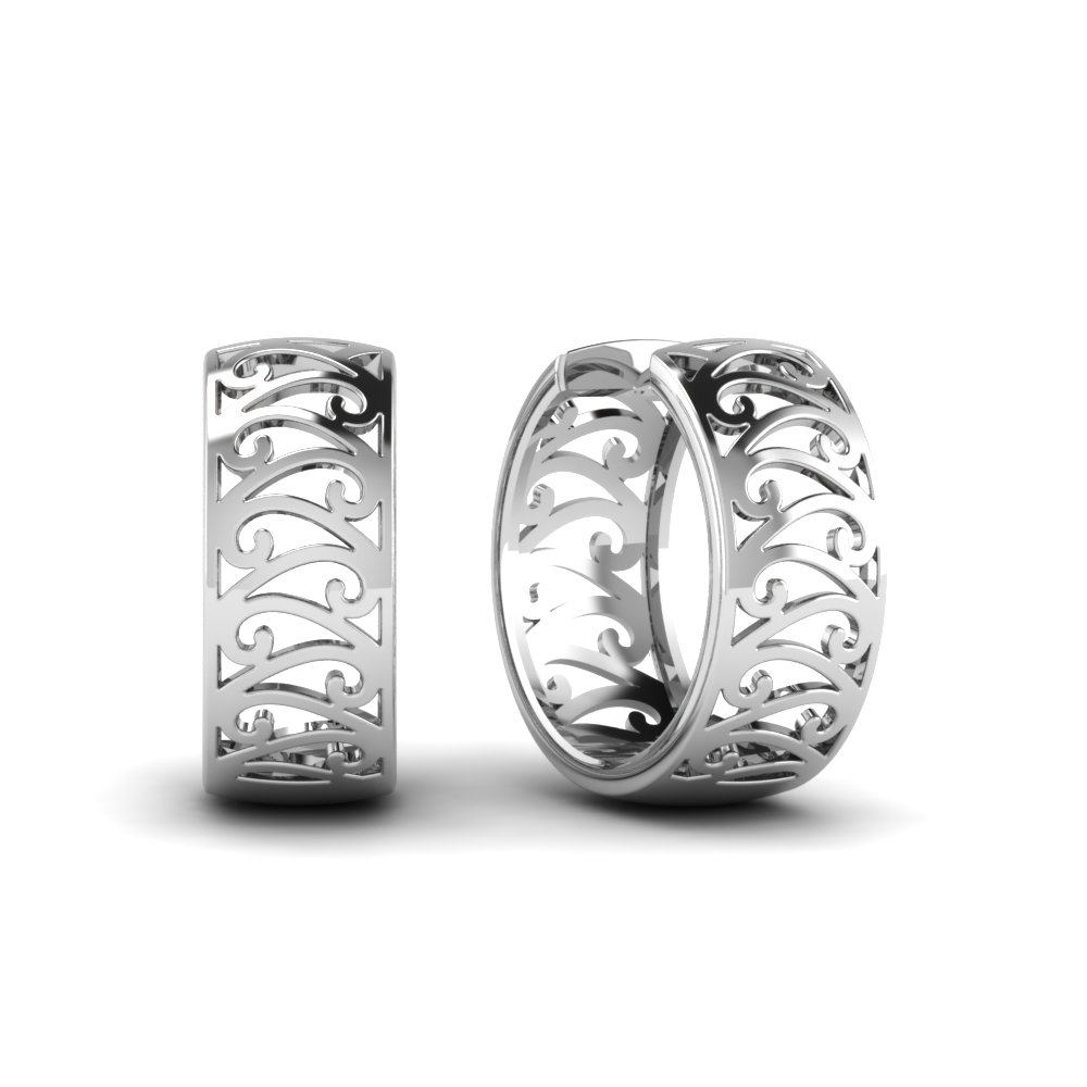 White Gold Filigree Hoop Earrings Filigree Hoop Earrings in 18k White Gold Fdear1102