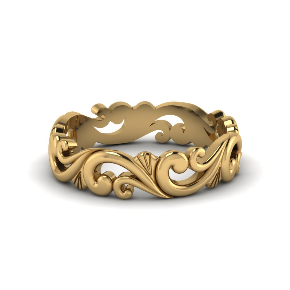 filigree simple gold wedding band for women in 14K yellow gold FD50063B NL YG