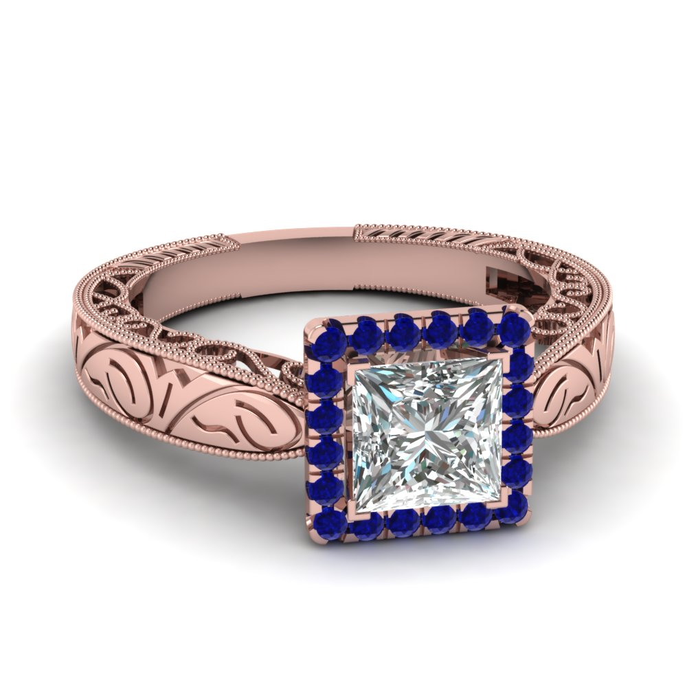Filigree Square Halo Diamond Ring