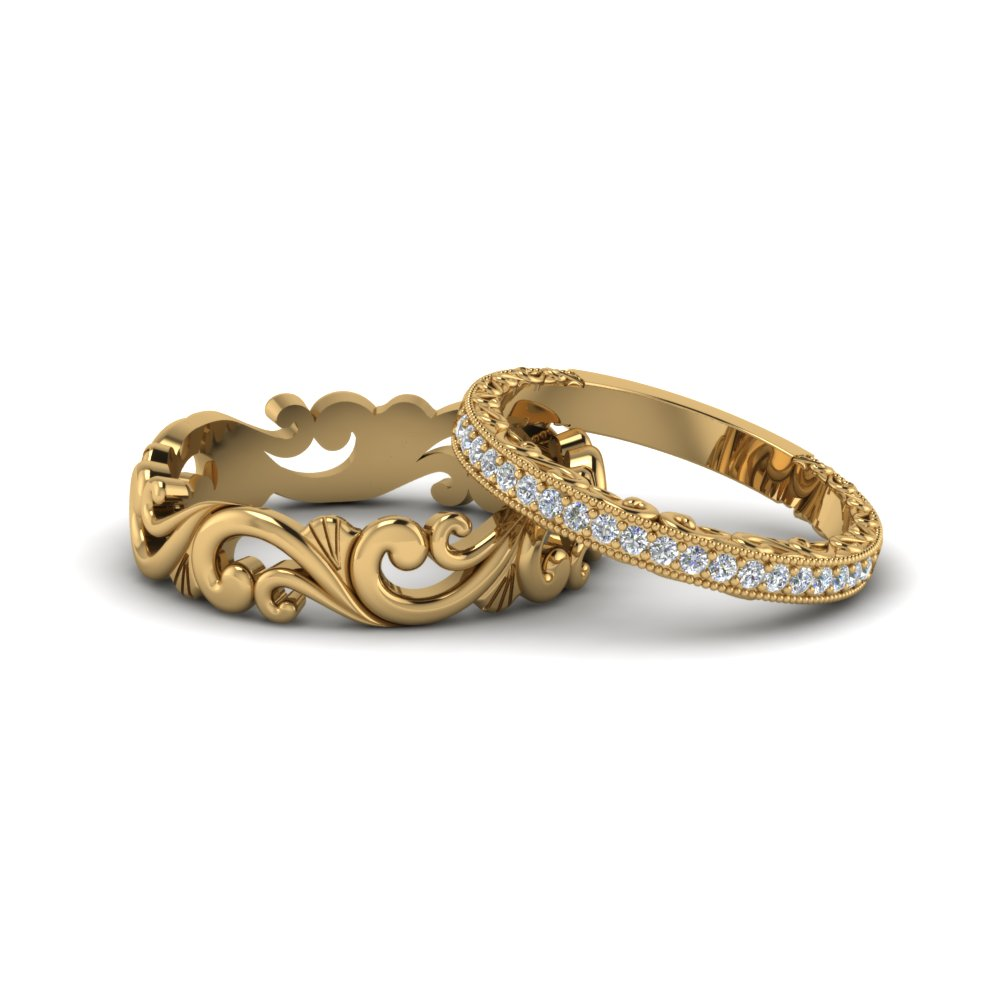 Filigree Wedding Rings His And Hers Matching Sets