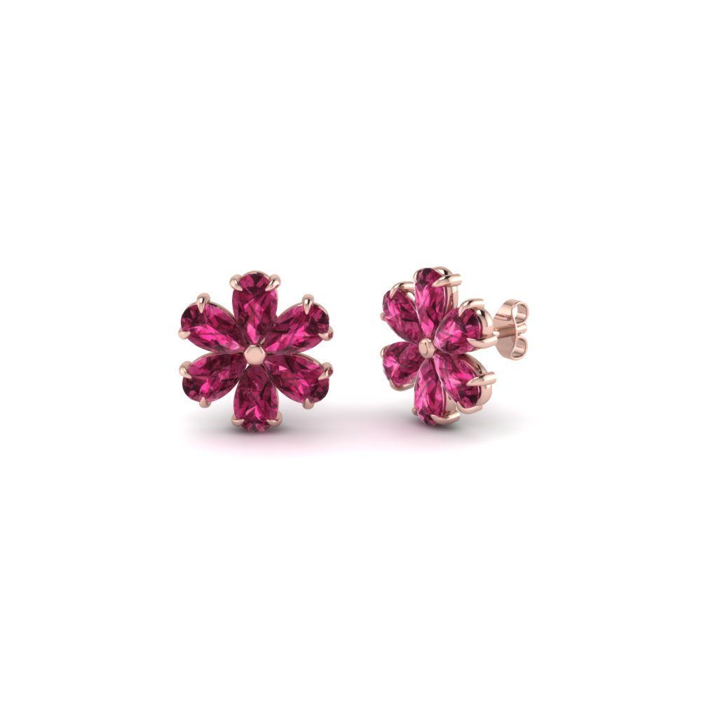 Floral Pear Stud Diamond Earring