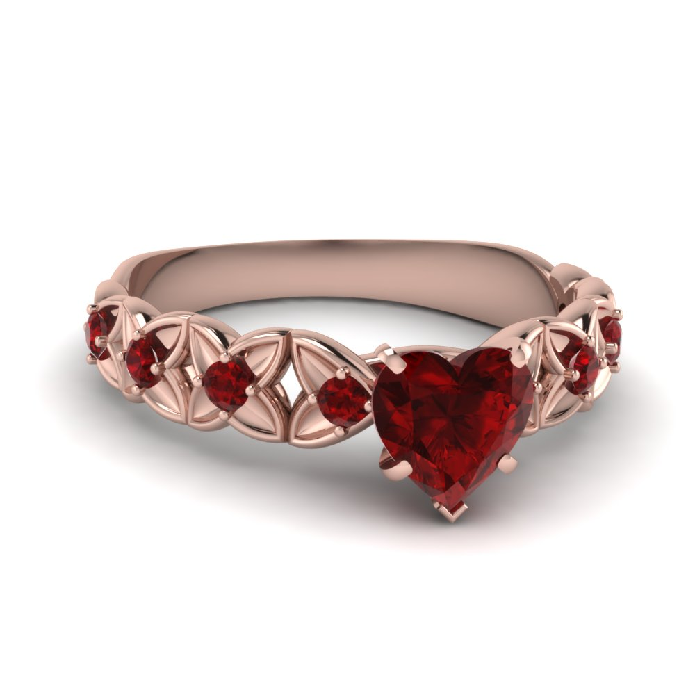 Floral Heart Shaped Ruby Proposal Ring