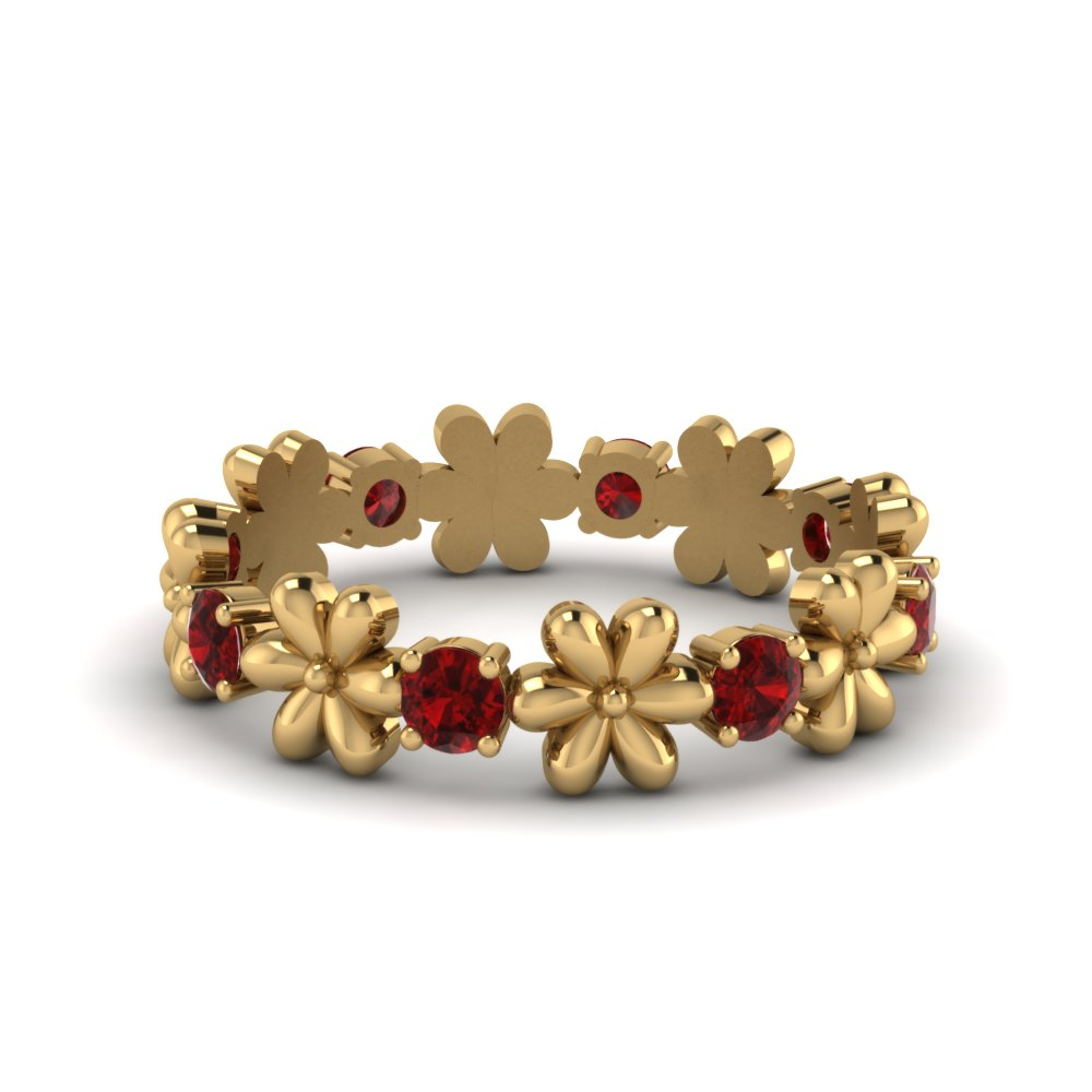 ruby flower wedding ring in FD8299RGRUDR NL YG GS