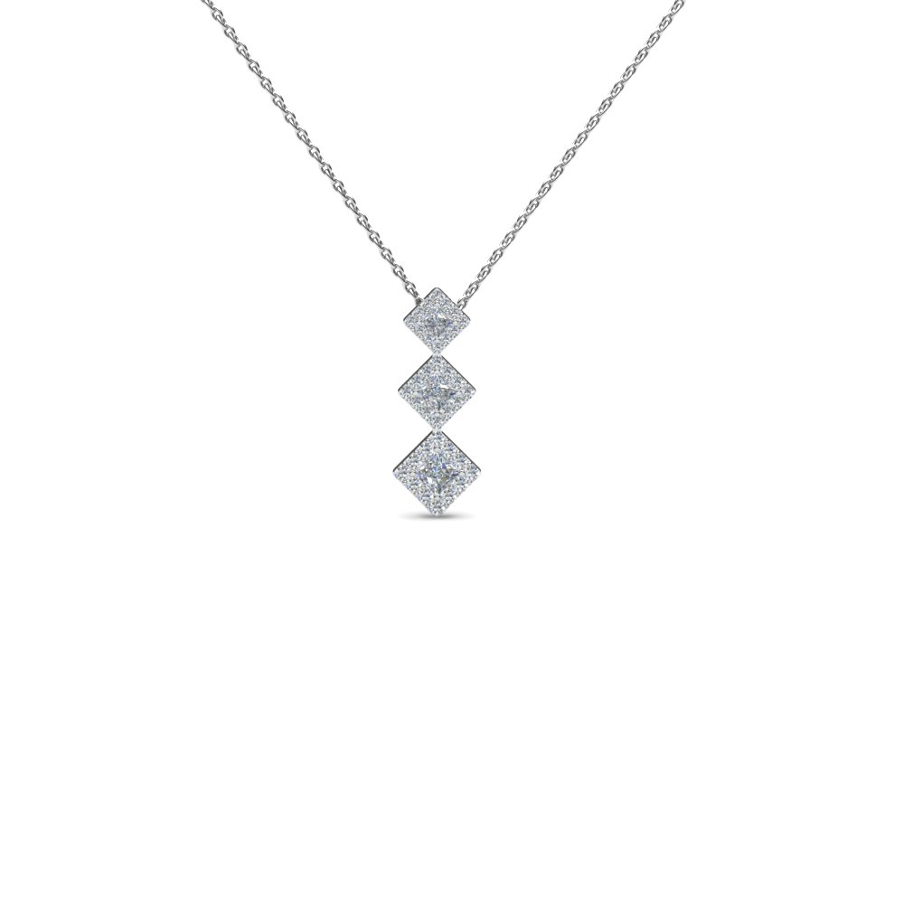 Graduated Kite Shaped Princess Cut Diamond Pendant