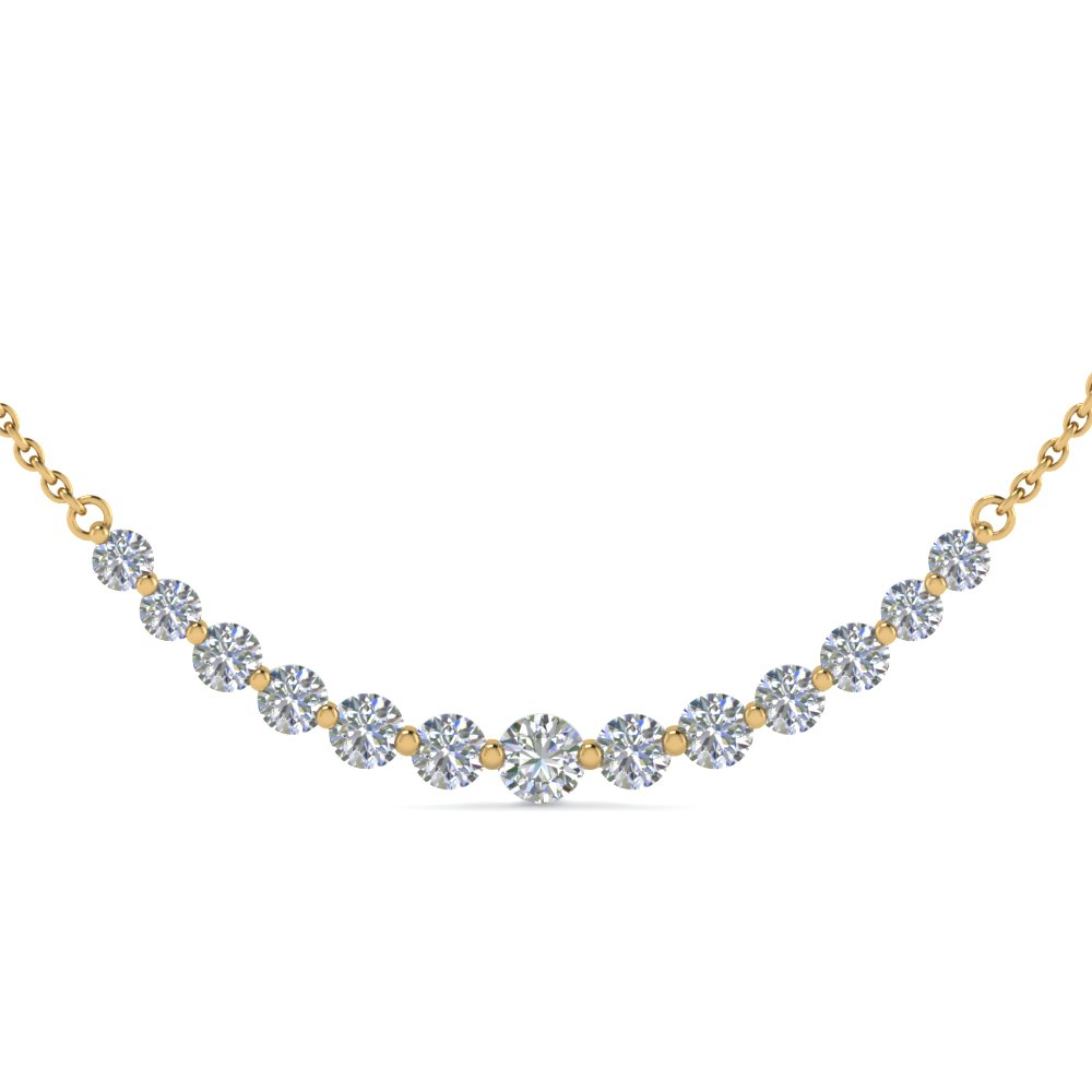 2 carat Graduated Curved Diamond Necklace