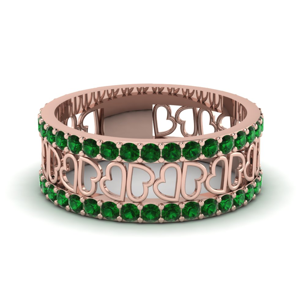 Rose gold Most Beautiful Wedding Rings with Emeralds