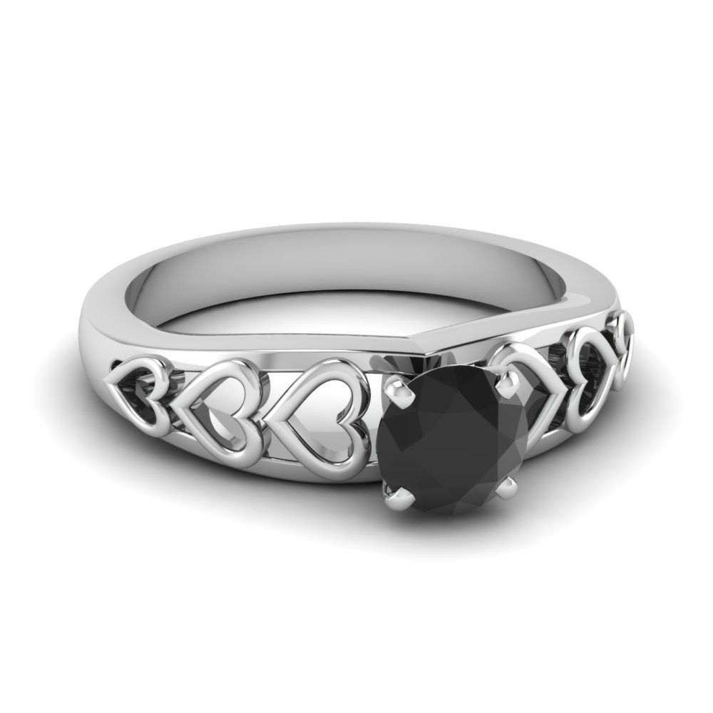 White Gold Solitaire Black Diamond Engagement Ring
