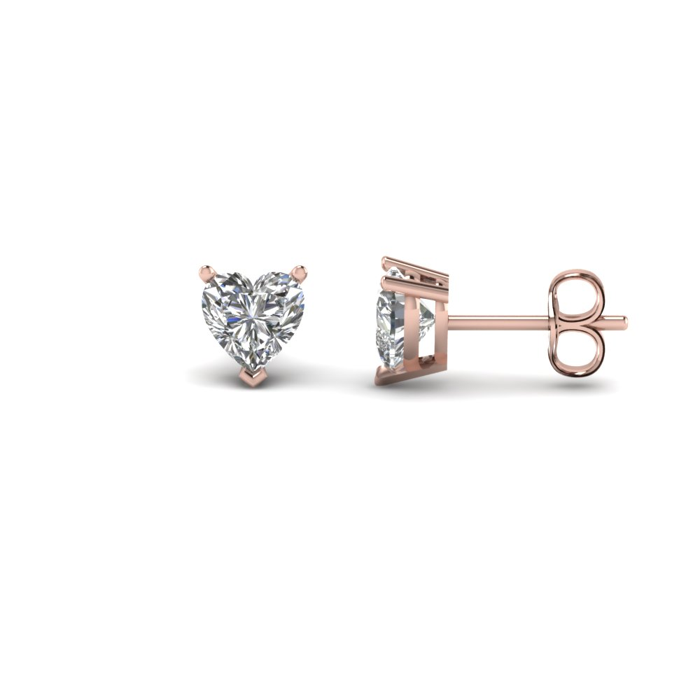 Heart Shaped 1 Carat Diamond Earrings In 14k Rose Gold Fdear3ht0 50ct Nl Rg