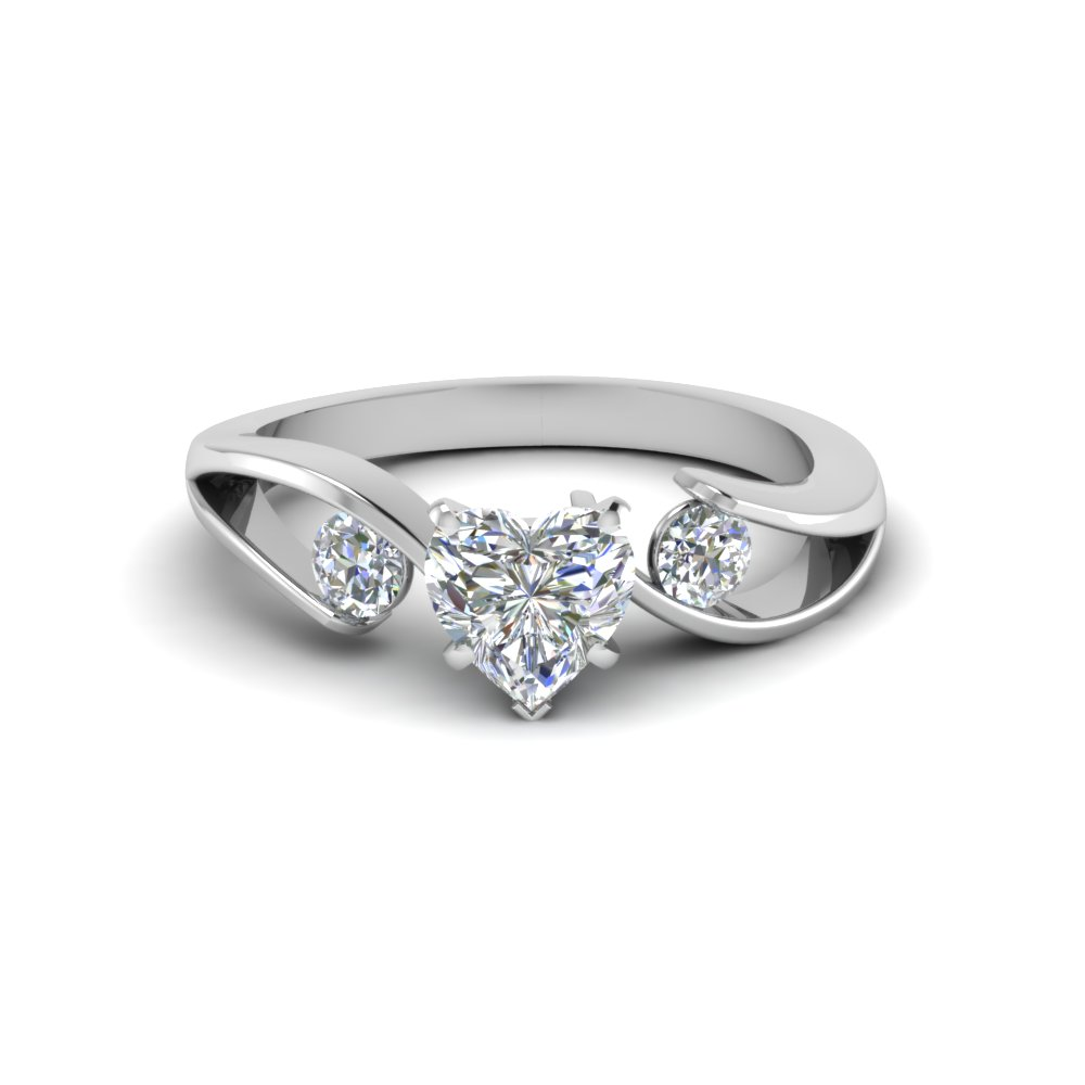 White Gold Heart Diamond Past Present Future Ring