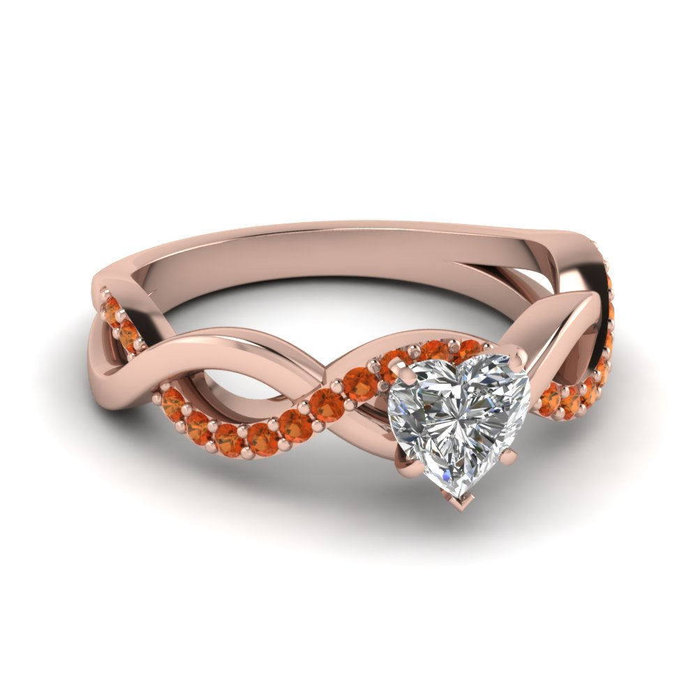 Heart Shaped Infinity Pink Engagement Ring
