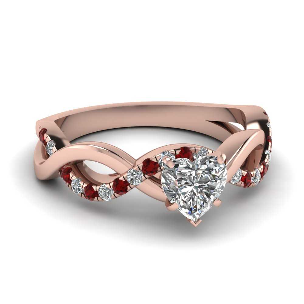Heart Diamond Ruby Twist Style Ring
