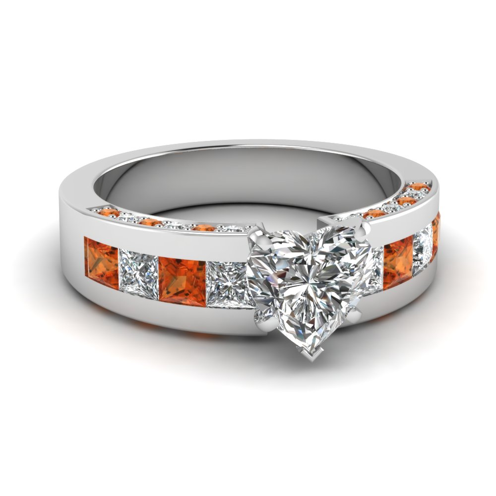 Thick band Timeless Heart and Orange Sapphire Engagement Ring