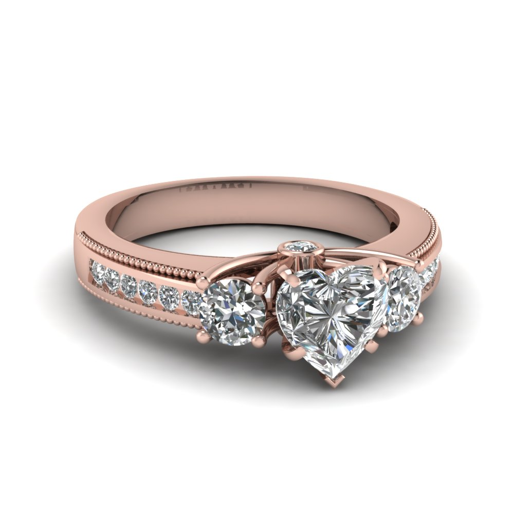 Pink Gold 3 Diamond Stone Ring
