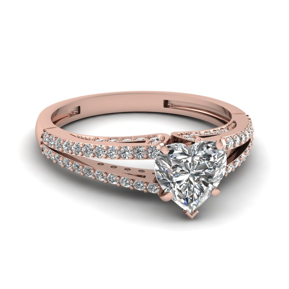 Heart Shaped Split Engagement Ring With Shank Diamond