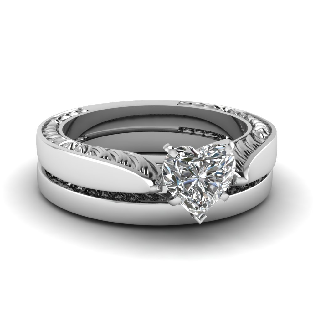 Solitaire diamond shank bridal ring sets