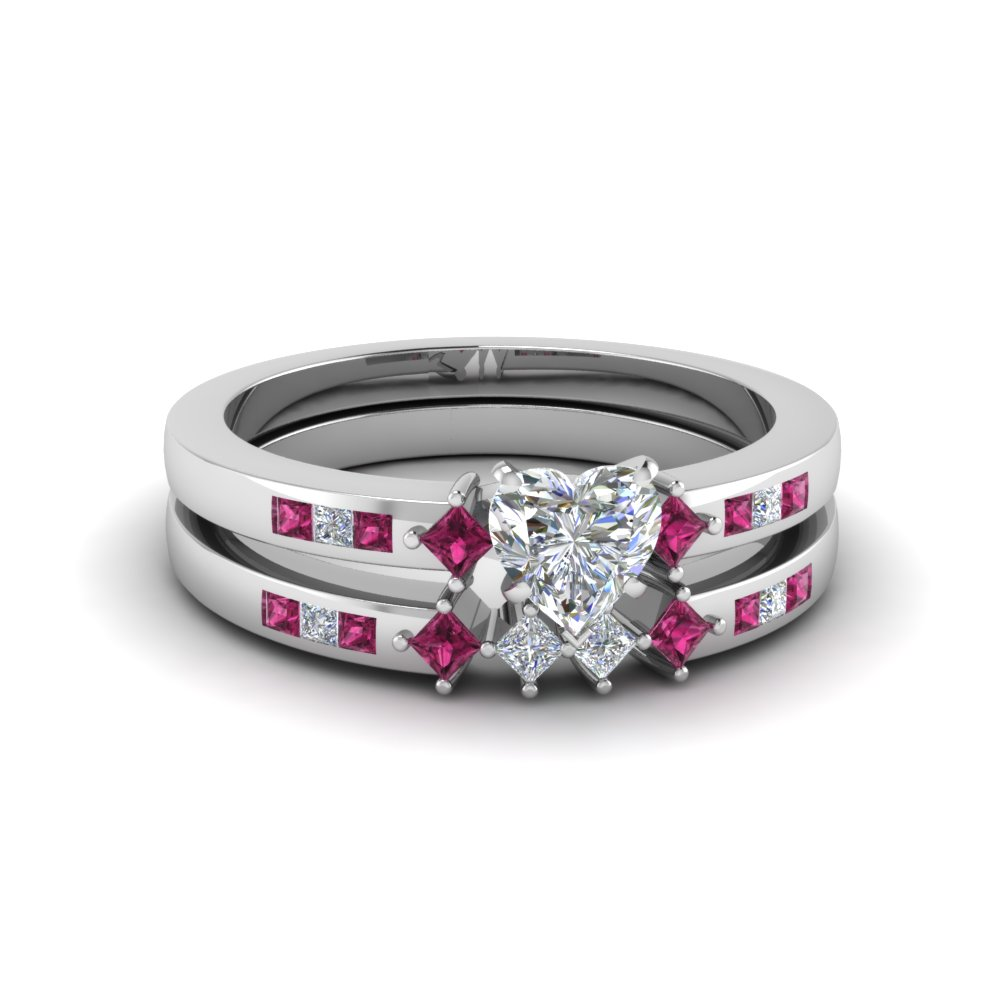 heart shaped kite style channel set accent diamond wedding ring set with pink sapphire in FDENS3121HTGSADRPI NL WG