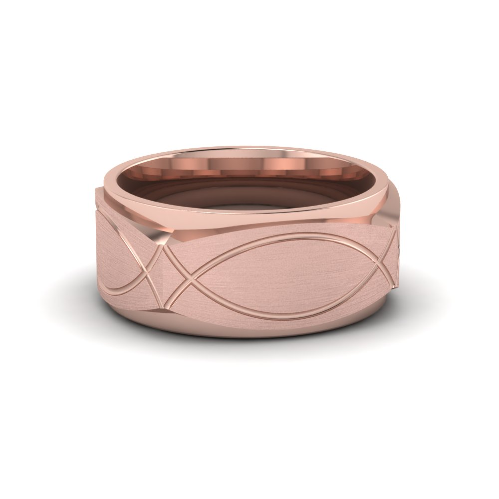 Gold Infinity Texture Mens Wedding Band