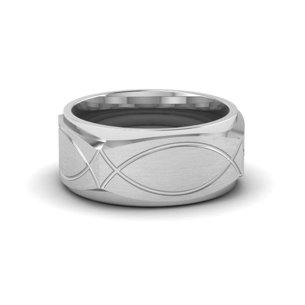infinity texture square gold mens wedding band ring in 14K white gold FDMSQ834B NL WG