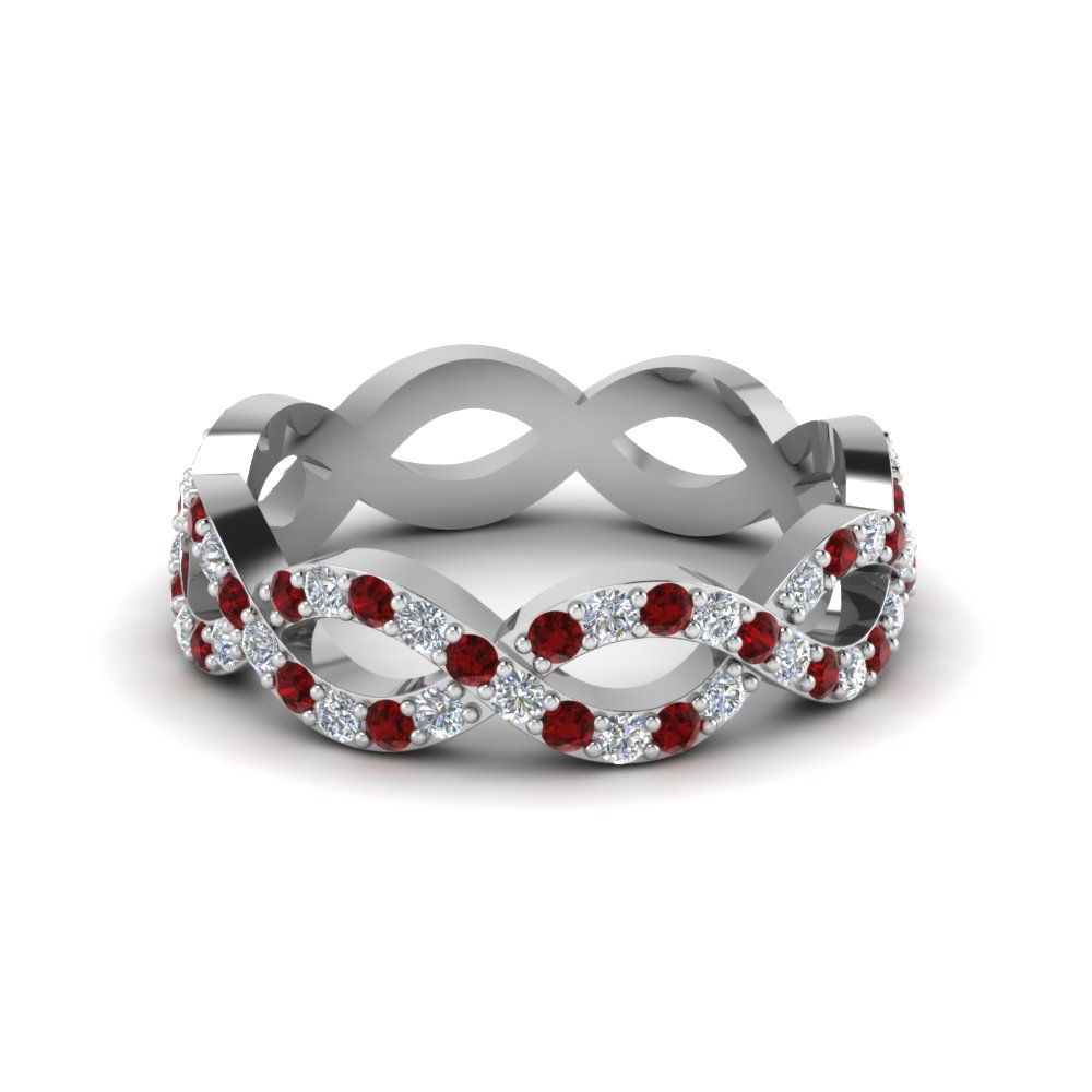 Platinum ruby and diamond gemstone eternity wedding band