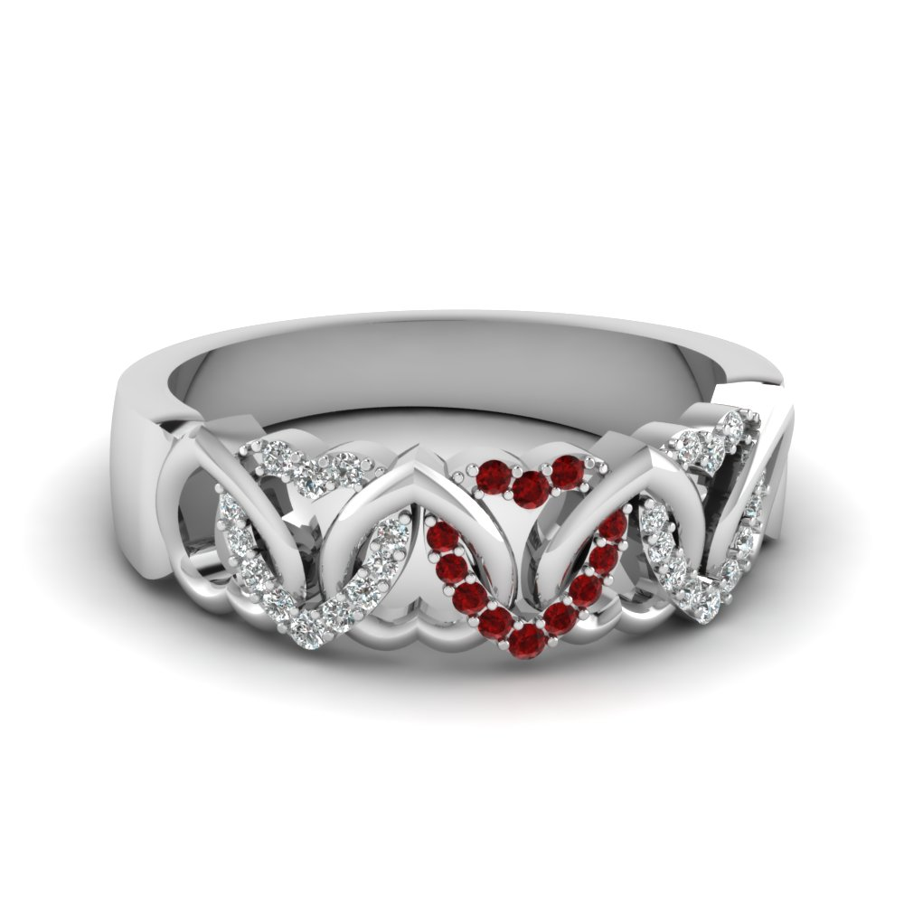 Heart Interlinked Diamond Band