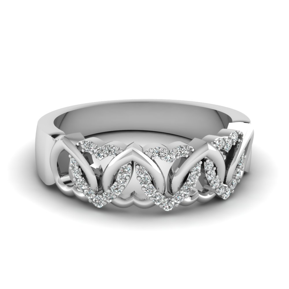 Silver Wedding Band In White Diamonds Interweaved Heart Band
