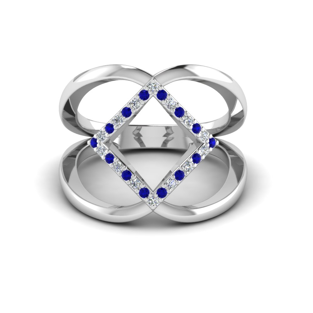 18K White Gold Blue Sapphire Promise Rings for Her