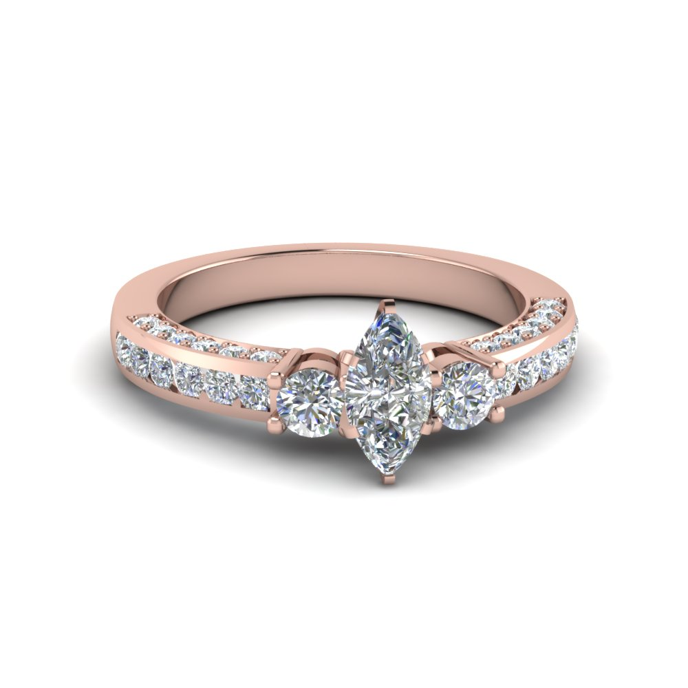 Marquise Cut Channel Set 3 Diamond Accent Engagement Ring In 14K Rose Gold