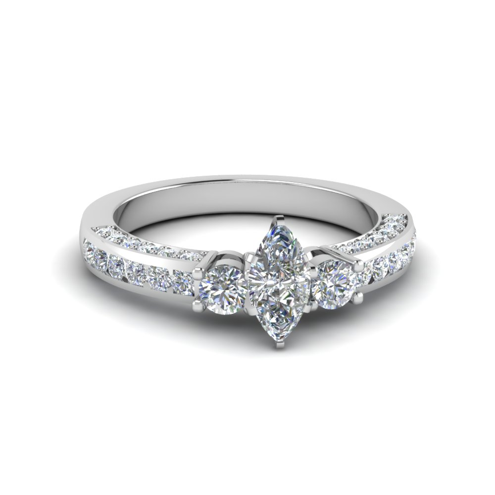marquise cut channel set 3 diamond accent engagement ring in 14K white gold FDENS1091MQR NL WG