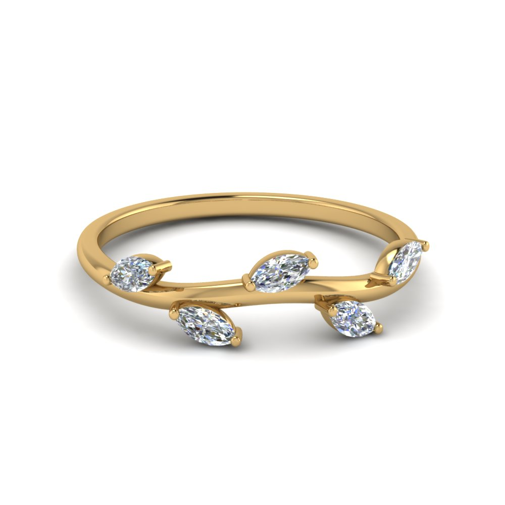 marquise diamond leaf band in 14K yellow gold FD122971B NL YG