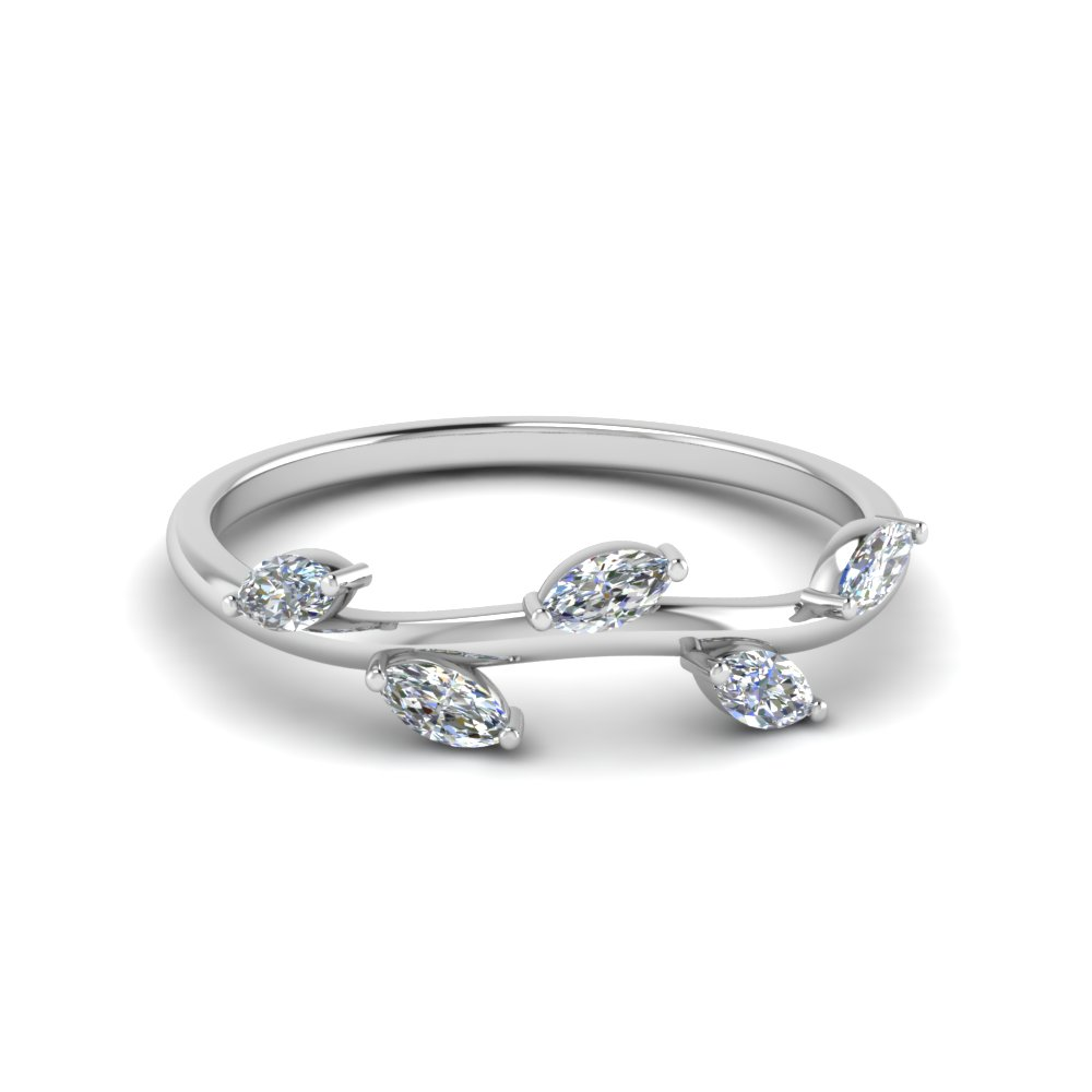 marquise diamond leaf band womens wedding bands with white diamond in 18k white gold