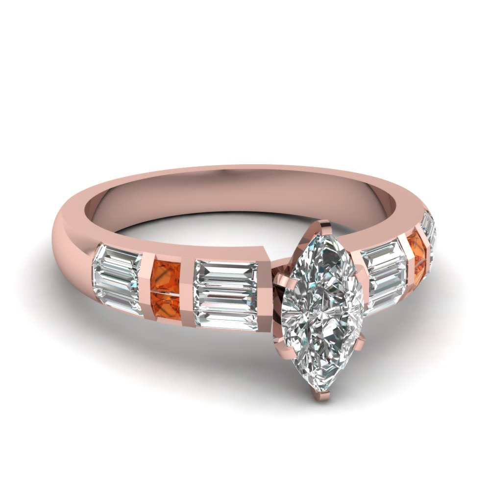 Baguette Accent Engagement Ring