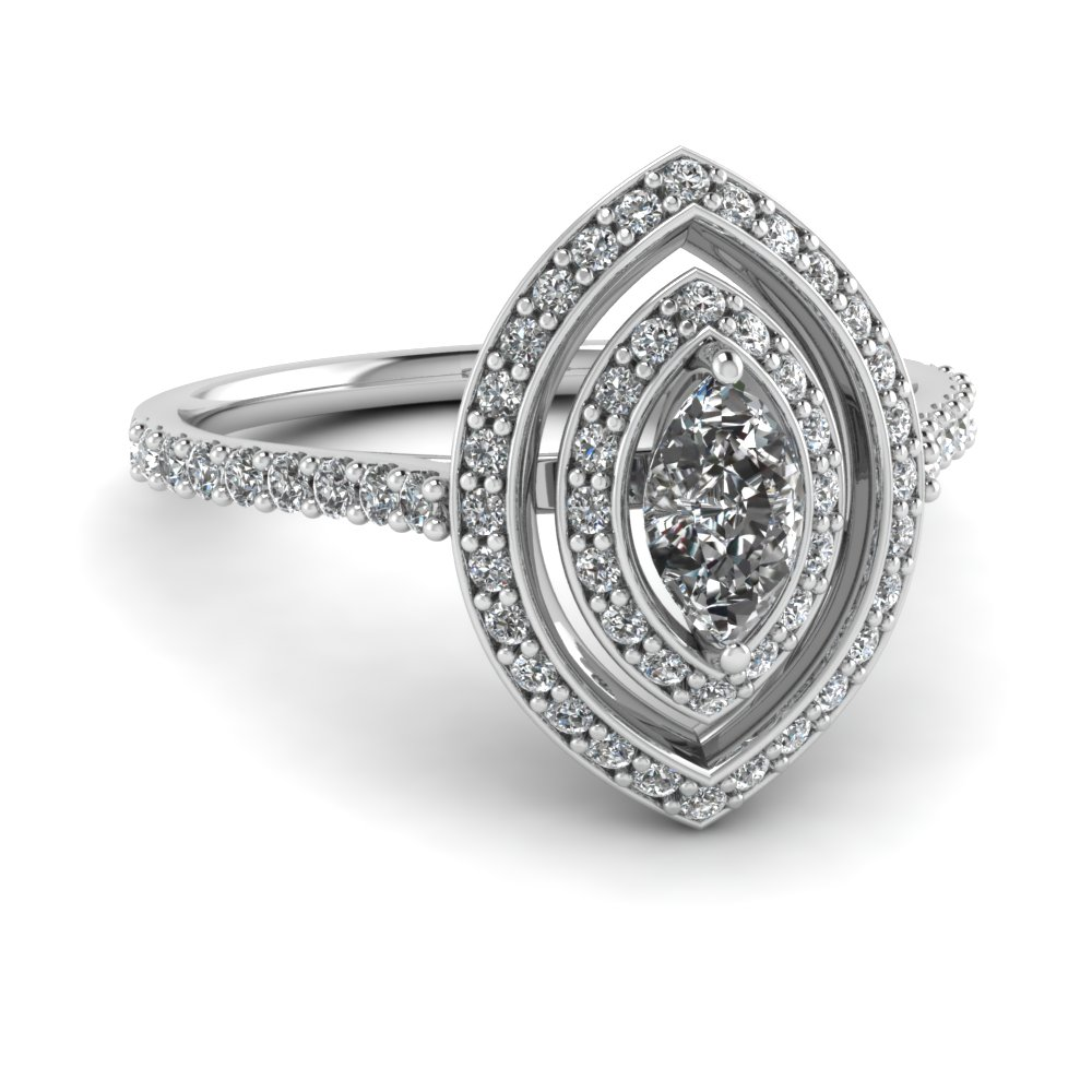 Big Marquise  Diamond Halo Ring
