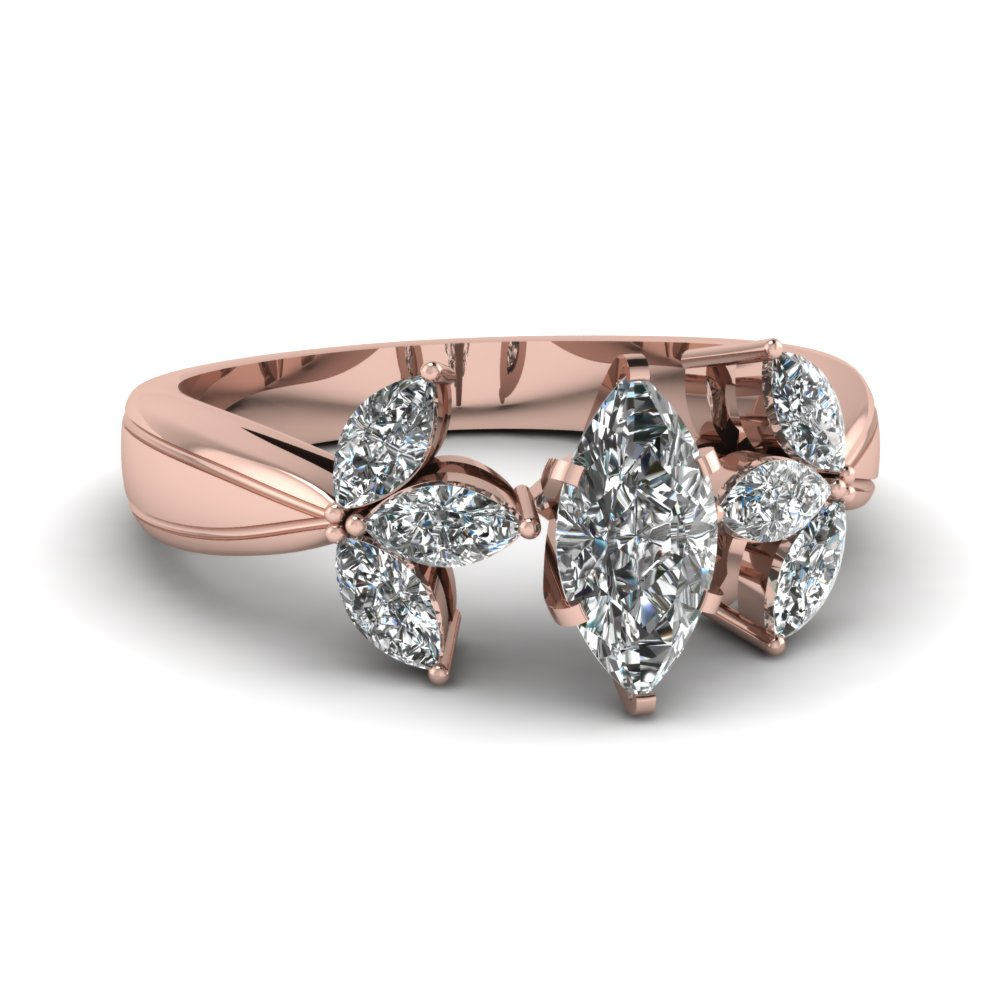 Marquise Shape Diamond Flower Engagement Ring in Rose Gold