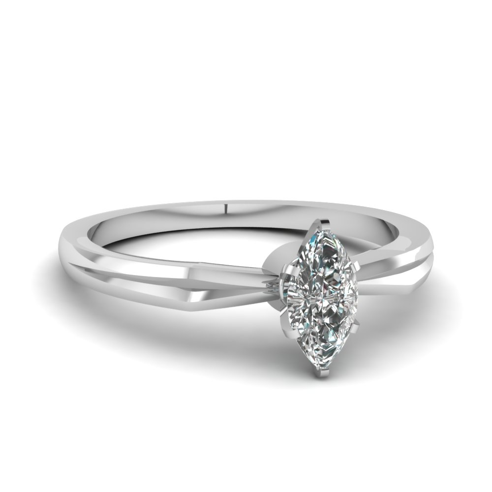 6 Prong Glossy Marquise Diamond Ring