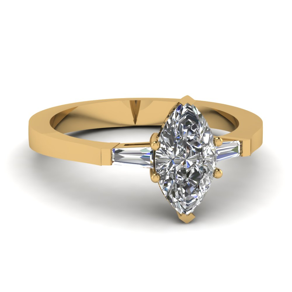 Three Stone Beautiful Marquise and Baguette Diamond Engagement Ring