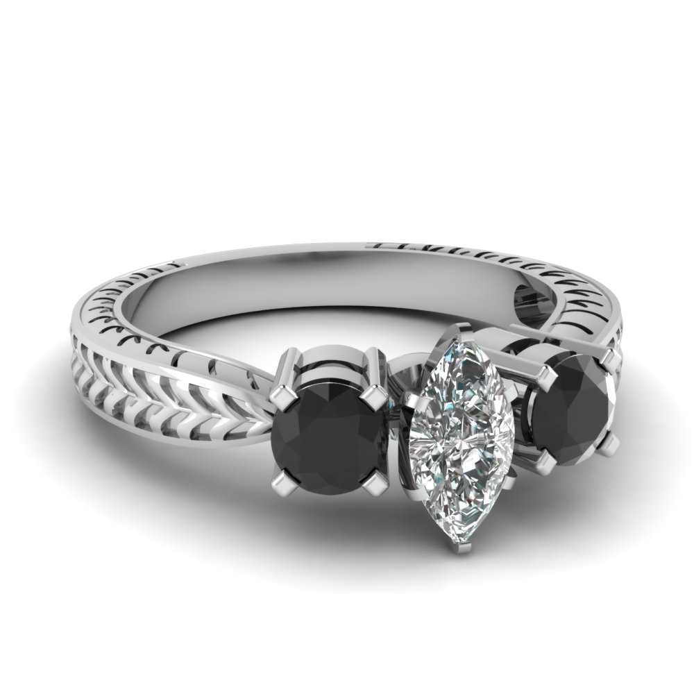 Platinum Marquise Shaped Black Diamond Three Stone Diamond Engagement Rings