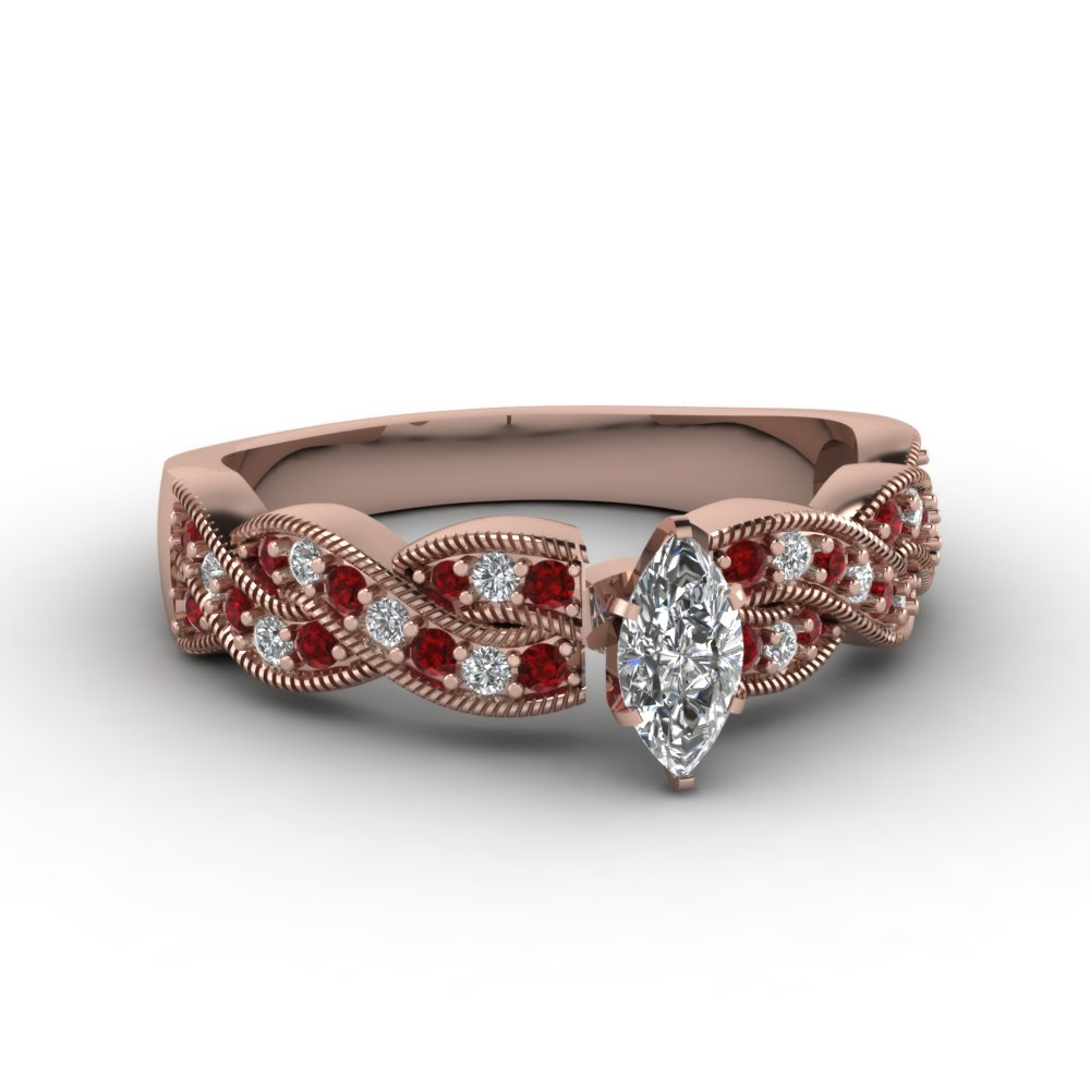 Braided Marquise Pave Pink Engagement Ring