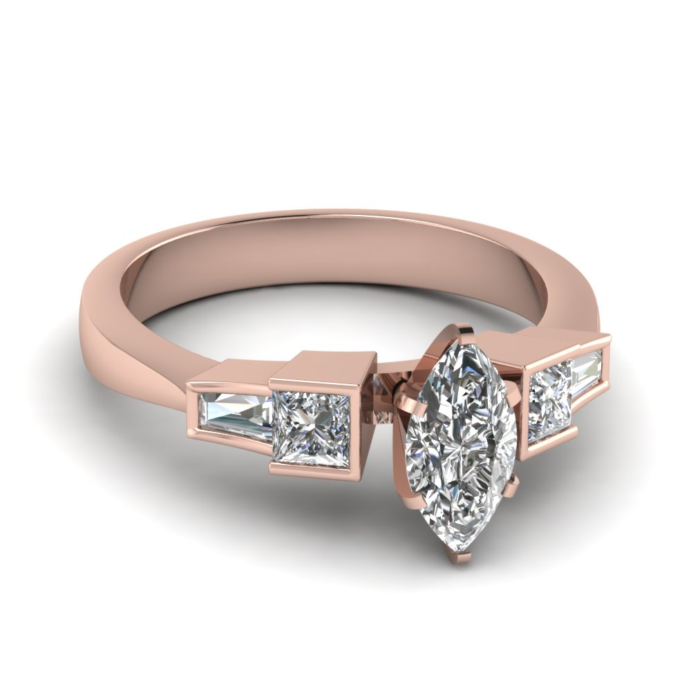 Rose Pink Gold Diamond Engagement Ring