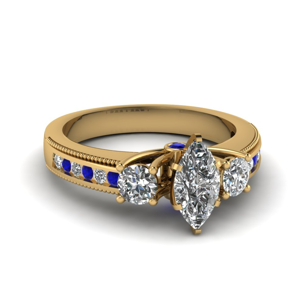 Marquise Diamond Rings With Sapphire Accents