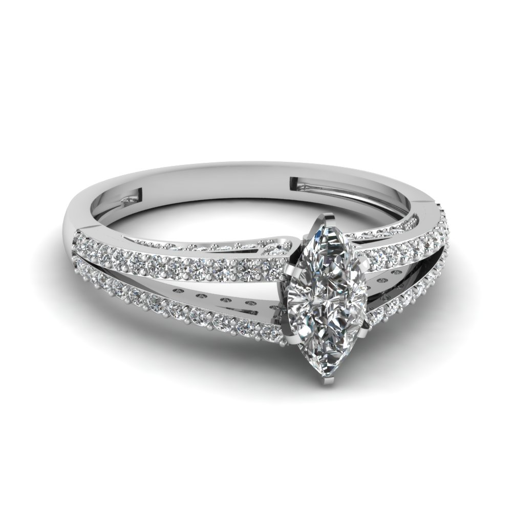 Marquise Diamond Split Shank Engagement Ring In White Gold