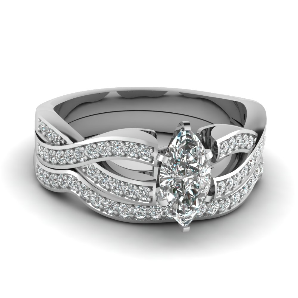 Entwined Split Pave Wedding Ring Sets